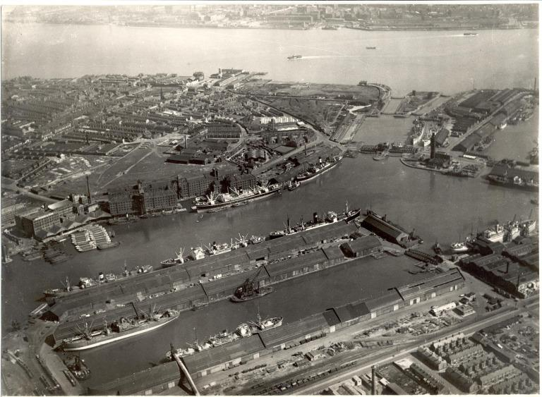 Photograph, aerial view of Birkenhead Docks card