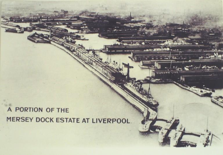 Photograph of Aerial View of Part of Mersey South Docks From Sandon to Canada c1906 card