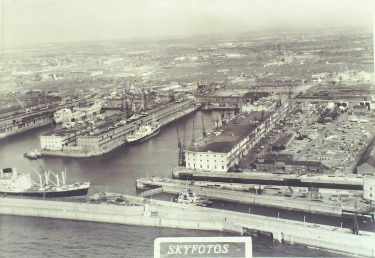 Photograph of Aerial View of Docks at Gladstone Entrance c1950 card