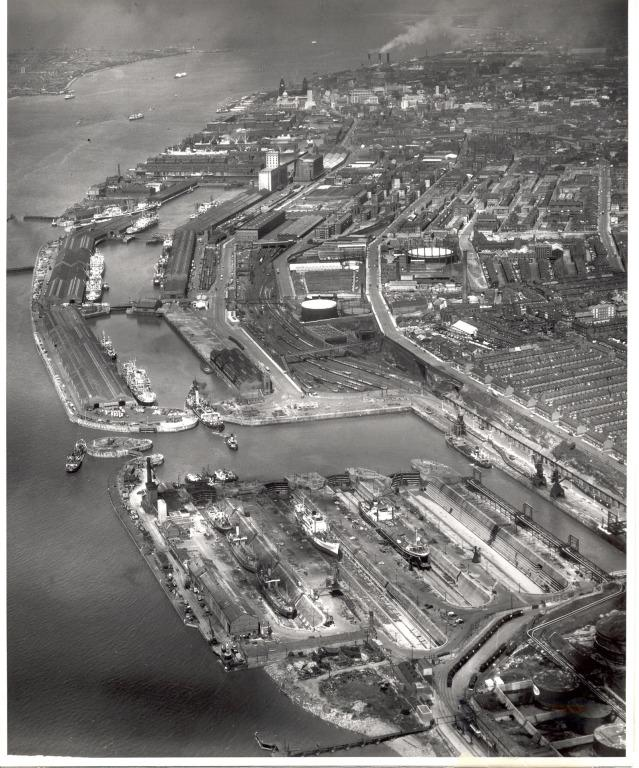 Photograph of Aerial view of South Docks Liverpool card