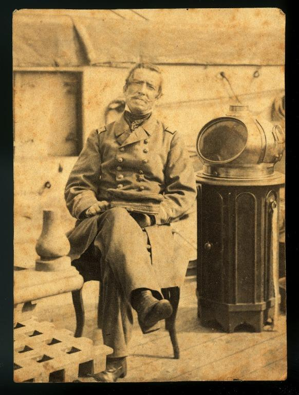 Portrait of Captain Raphael Semmes on board Confederate commerce raider Alabama. card