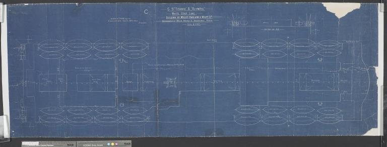 Blueprint of Olympic/Titanic, showing a proposed life boat arrangement plan for both ships card