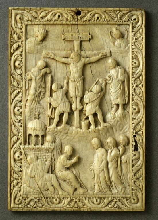Bookbinding depicting The Crucifixion with women at the Sepulchre card