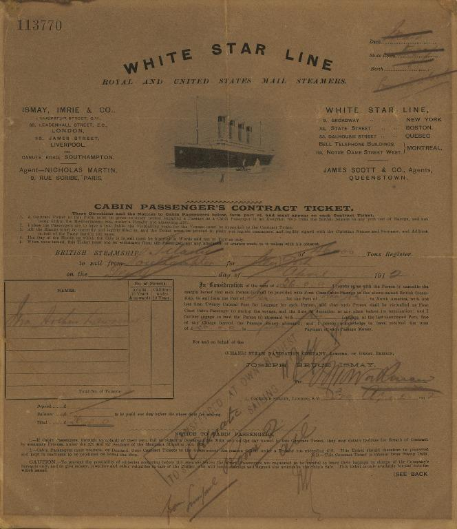 Cabin passenger contract ticket for Titanic, White Star Line. card