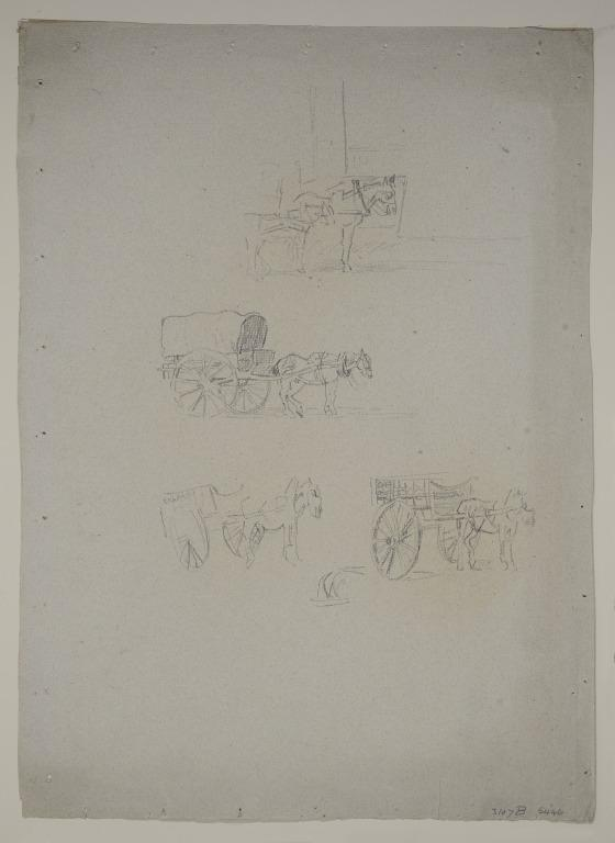 Studies of a Horse and Cart card