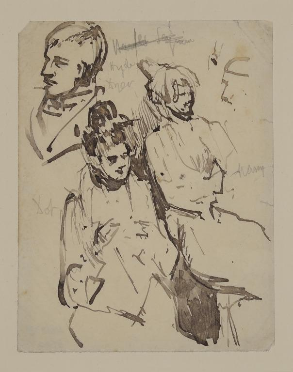 Head of a Man with Two Seated Women card