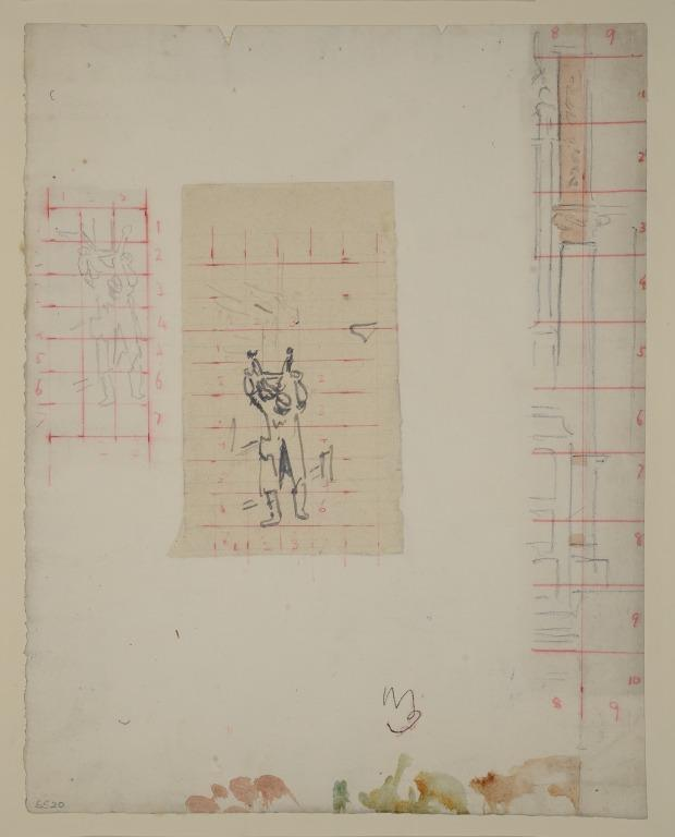 Studies of a Meat Porter and an Architectural Detail card
