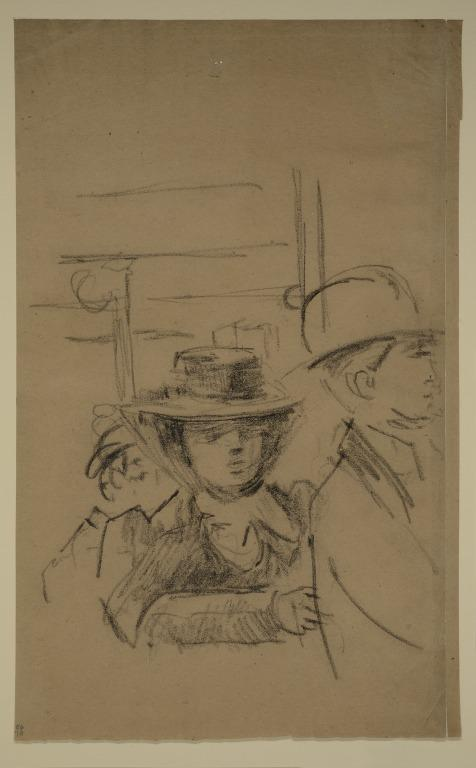 Study of a Woman in a Wide Brimmed Hat; a Man in a Bowler card