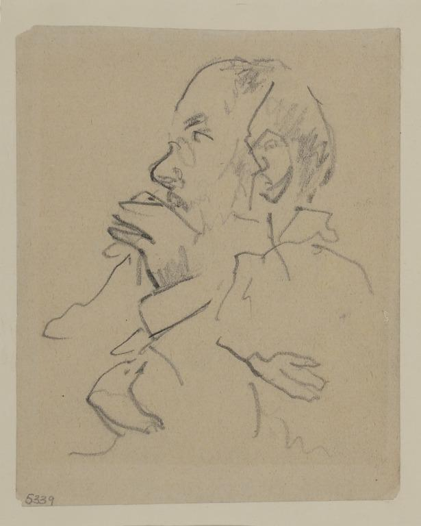 Man Smoking, possibly Edgar Degas card