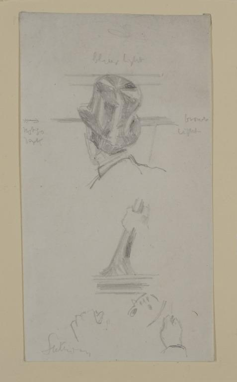 Head of Man in Top Hat and Hand of Cellist card