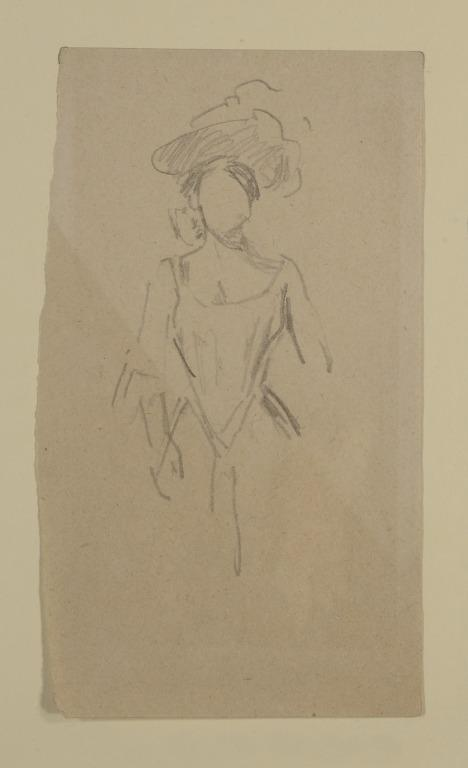 Artiste, Probably Katie Lawrence, Wearing a Hat Seen Three-Quarter Length card