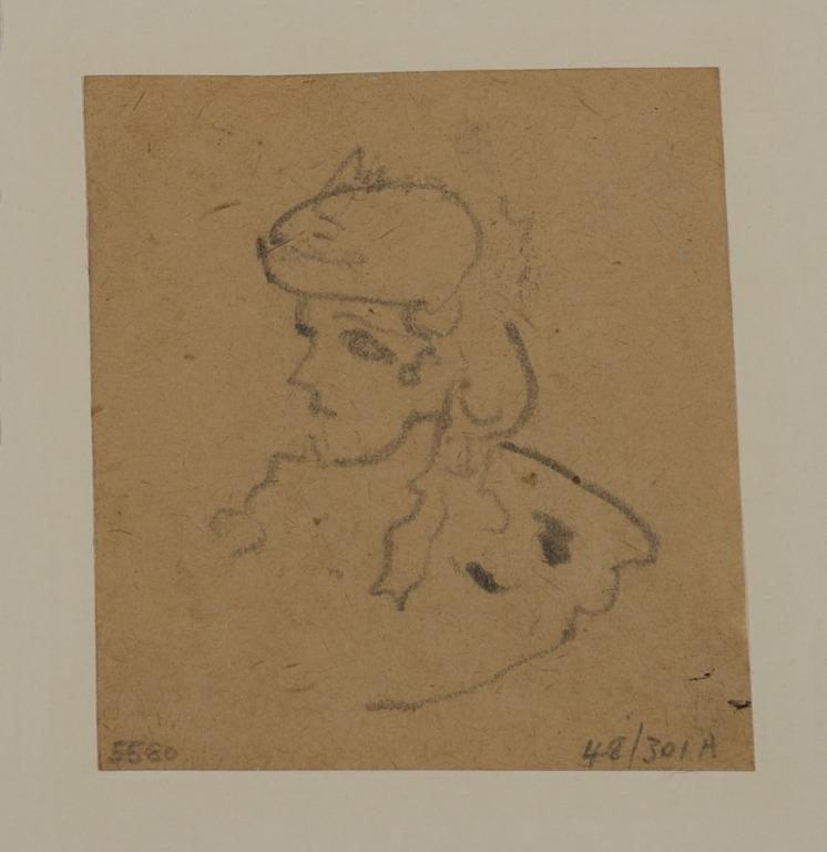 Head and Shoulders of a Woman in a Hat, Facing Left card