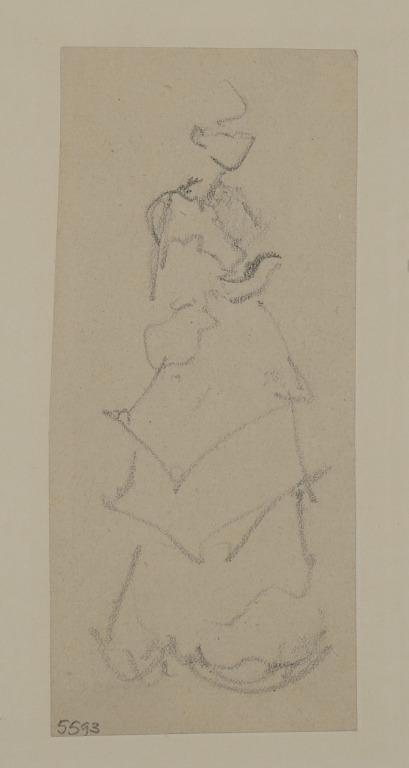 Woman Wearing a Tiered Skirt, Possibly Queenie Fancourt card