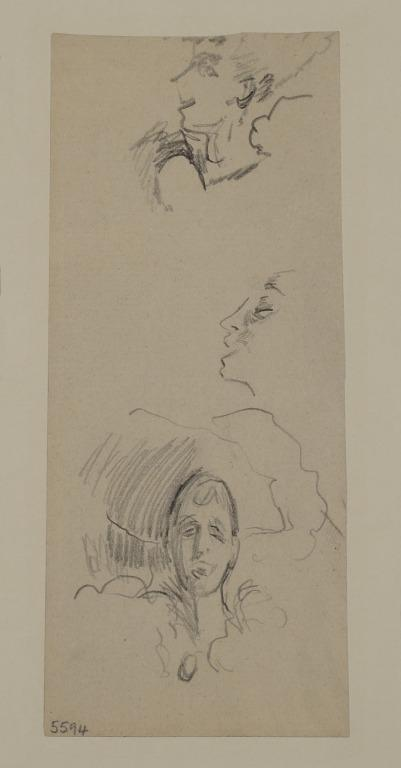 Head of an Artiste Wearing a Hat (probably Katie Lawrence) and Two Profile Heads of Another Singer card