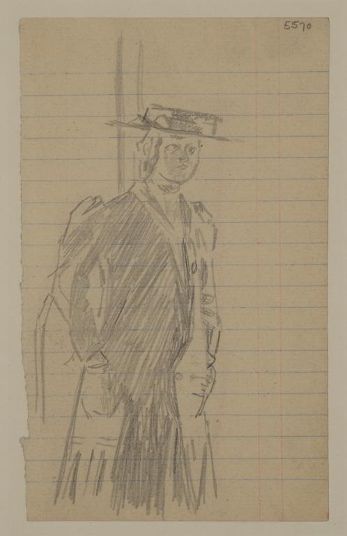 Woman in a Straw Boater and Long Coat card