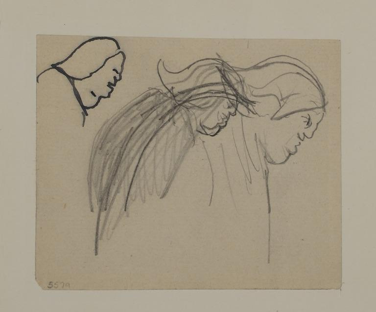 Three Studies of the Head and Shoulders of a Figure with Long Hair card