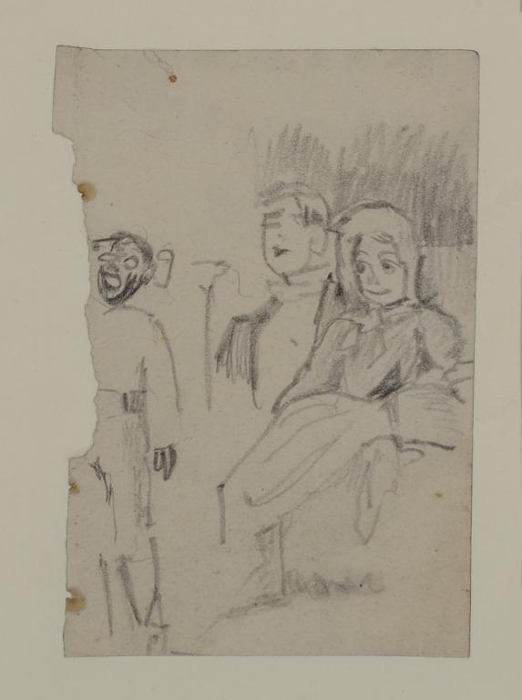 Two Figures in an Audience and Page Boy card