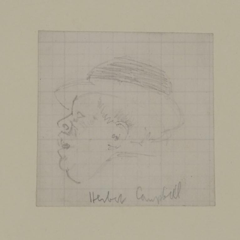 Study of Herbert Campbell - Head in Profile to the left card