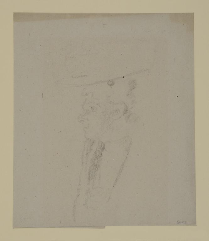 Head of a Woman in a Broad Rimmed Hat, in Profile card