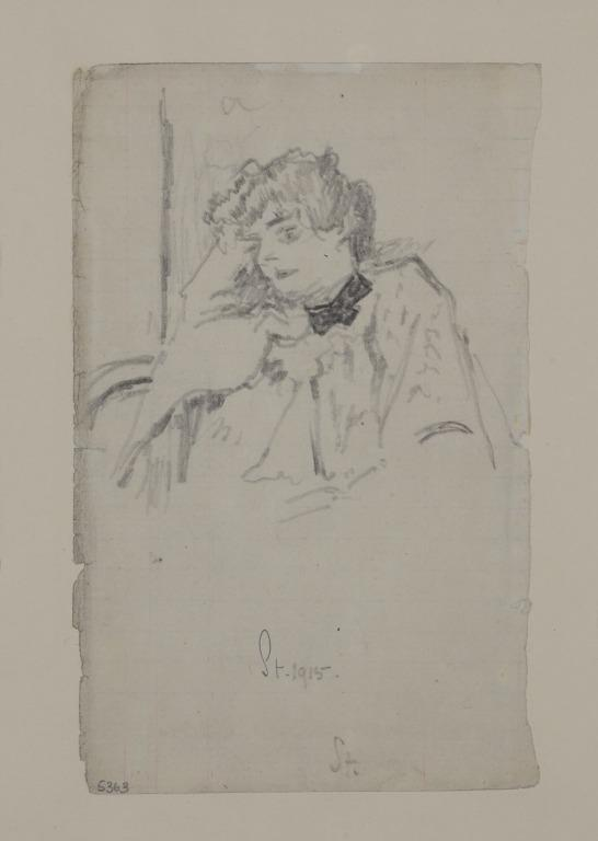 Woman with Head Resting on Right Arm card