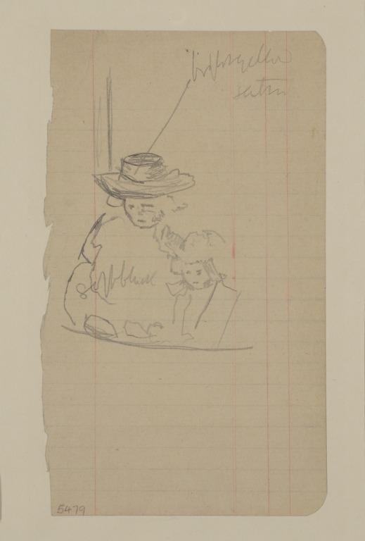 Woman in a Broad Brimmed Hat, Sitting in a Box with a Girl card