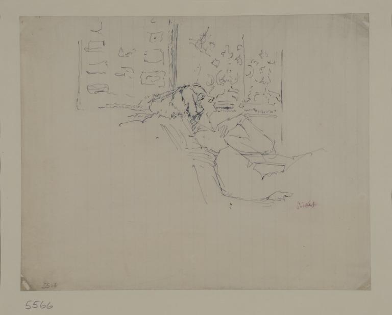 Woman Reclining in a Chain in Front of a Window card