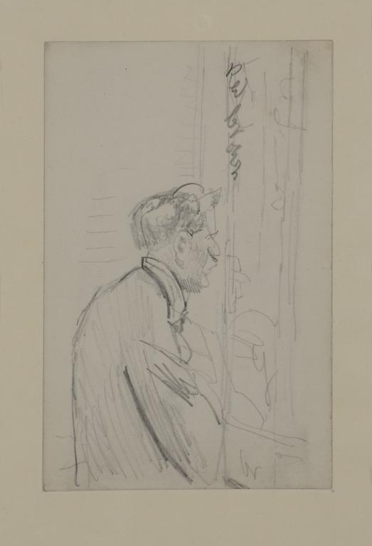 Head and Shoulders of a Man Looking Out of a Window card
