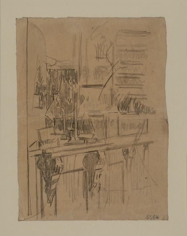 Study of a Shop Counter card