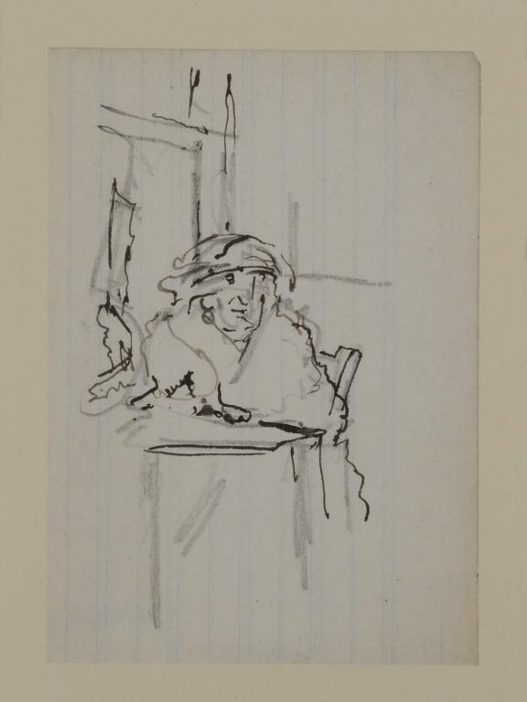 Study of an Old Woman at a Table card