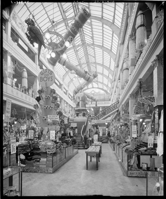 Photograph of Christmas decorations in Blackler's Department Store, Liverpool. card