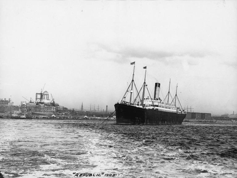 Photograph of Republic (ex Columbus), White Star Line card