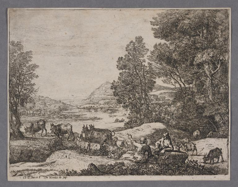 Landscape with Cows, Sheep, Goats, Herdsman and Girl card