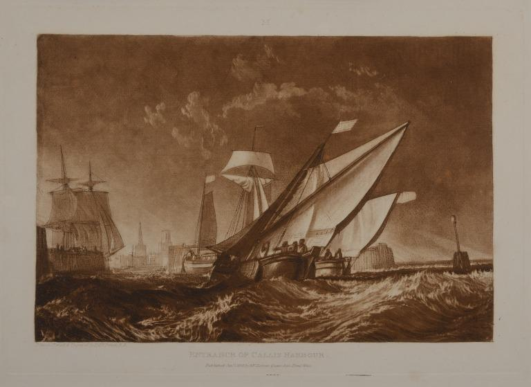 Entrance to Calais Harbour (First State?) card