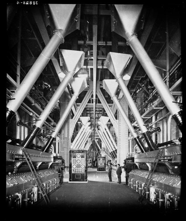 Photograph of firing aisle at Clarence Dock Power Station, Liverpool. card