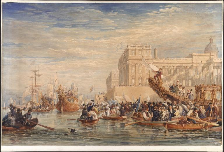 George IV Embarking for Scotland at Greenwich card