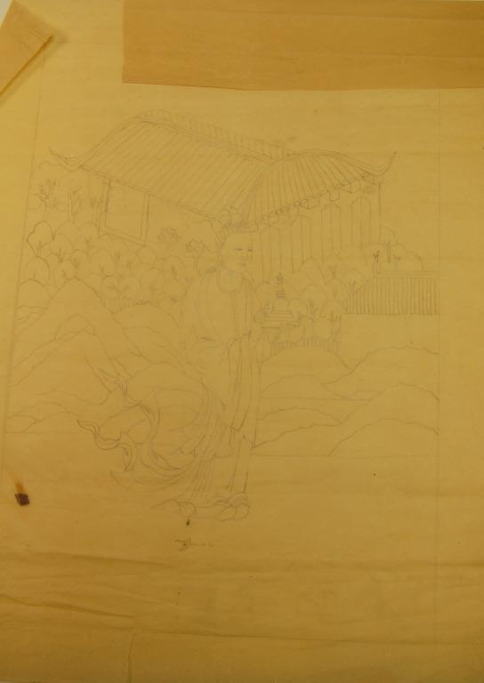 Tracing of a thangka of Abheda card