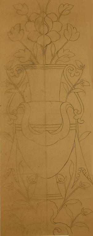 Traced and pricked drawing of the Treasure Vase - Eight Auspicious Symbols card