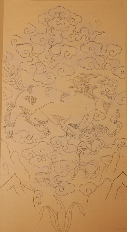 Pricked and inked drawing of a shishi in swirling clouds card