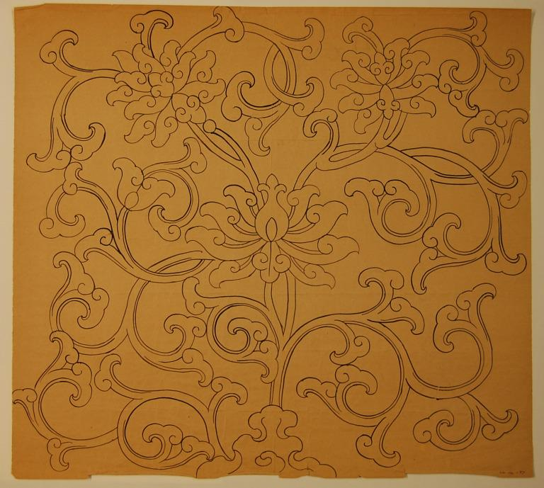 Ink drawing of a lotus pattern with swirling tendrils card