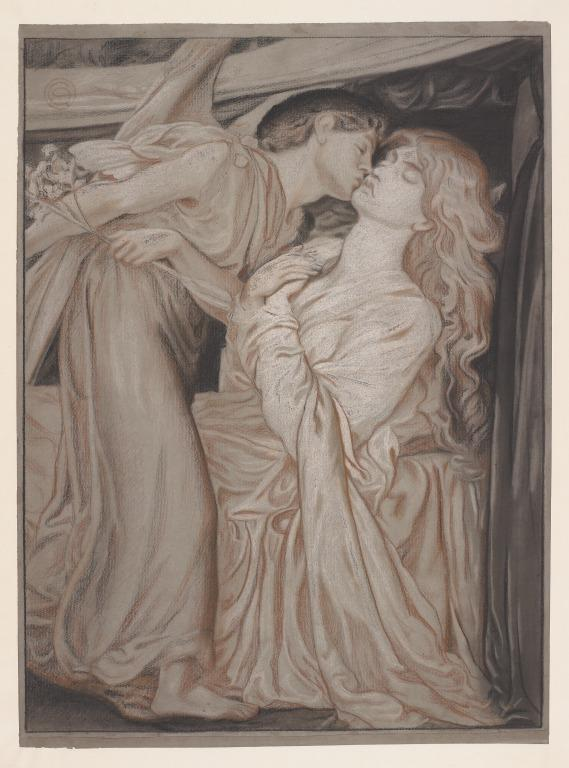 Study for Love and Beatrice in 'Dante's Dream' card