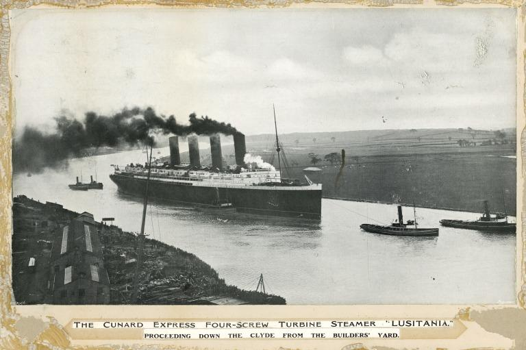Lusitania on the Clyde. card