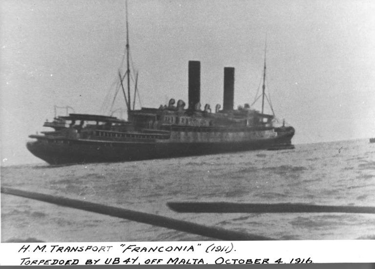 Photograph of Franconia, Cunard Line card