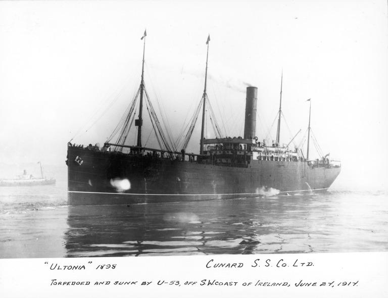 Photograph of Ultonia, Cunard Line card