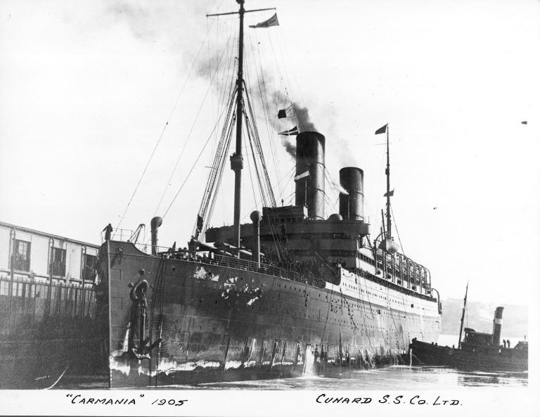 Photograph of Carmania, Cunard Line card