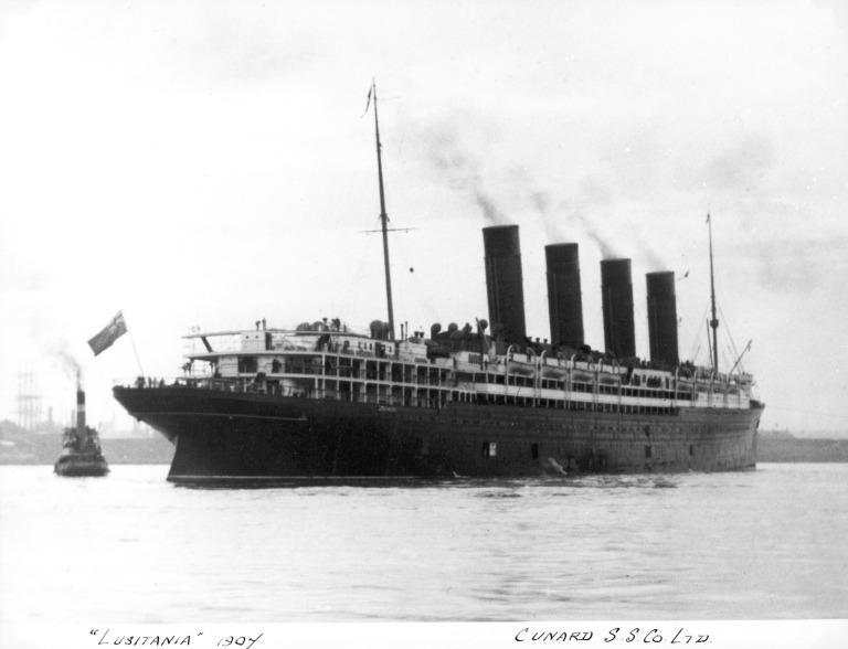 Photograph of Lusitania, Cunard Line card