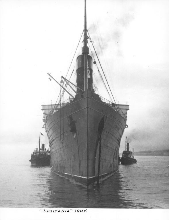 Photograph of Lusitania, Cunard Line card