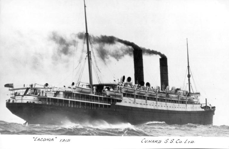 Photograph of Laconia, Cunard Line card