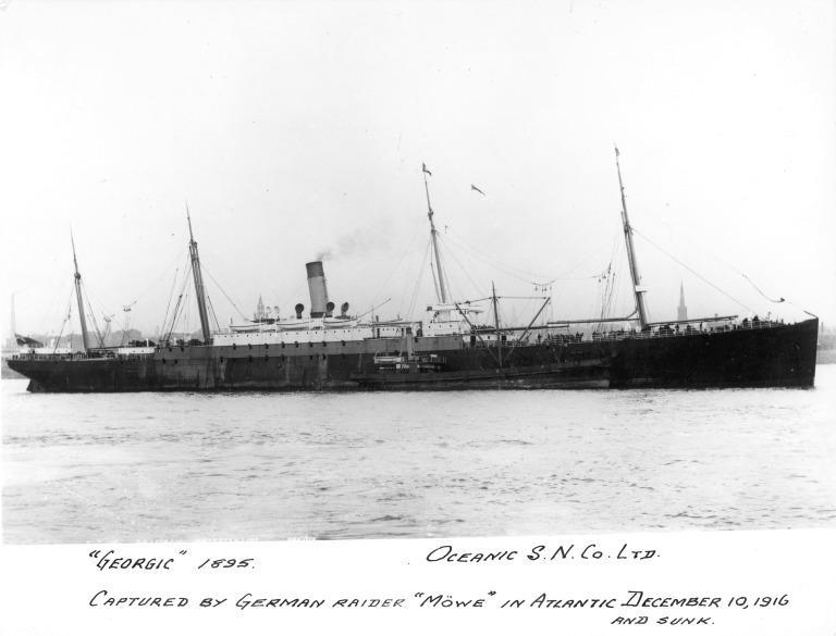 Photograph of Georgic, White Star Line card