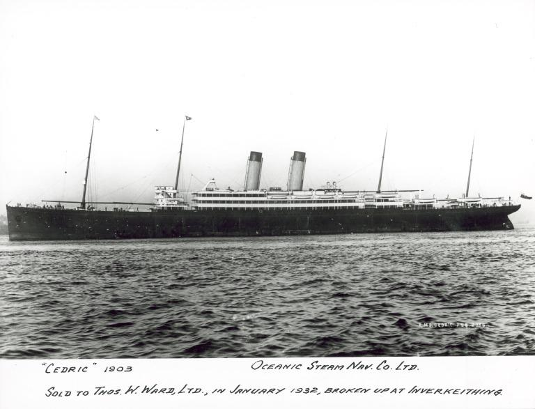 Photograph of Cedric, White Star Line card