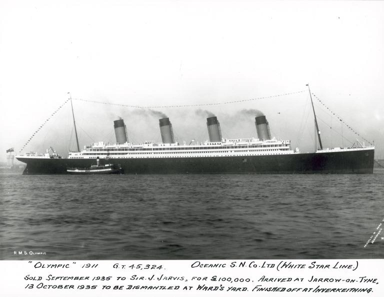 Photograph of Olympic, White Star Line card